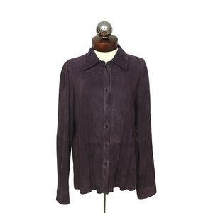 WORTH $1098 New York Suede Leather shirt 14